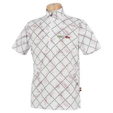 オロビアンコ Orobianco メンズ 総柄 半袖 ハイネック ハーフジップシャツ 45570-153 2020年モデル ホワイト(01)