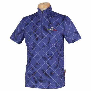 オロビアンコ Orobianco メンズ 総柄 半袖 ハイネック ハーフジップシャツ 45570-153 2020年モデル ネイビー(59)
