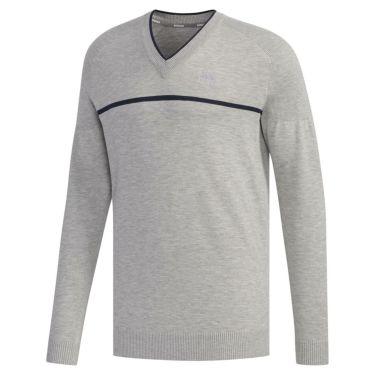 アディダス adidas メンズ ロゴ刺繍 チェストライン 長袖 Vネック セーター FYO86 2019年モデル ミディアムグレイヘザー(EH3669)