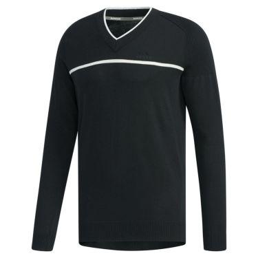 アディダス adidas メンズ ロゴ刺繍 チェストライン 長袖 Vネック セーター FYO86 2019年モデル ブラック(EH3670)