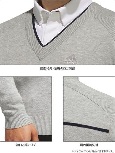 アディダス adidas メンズ ロゴ刺繍 チェストライン 長袖 Vネック セーター FYO86 2019年モデル 詳細4