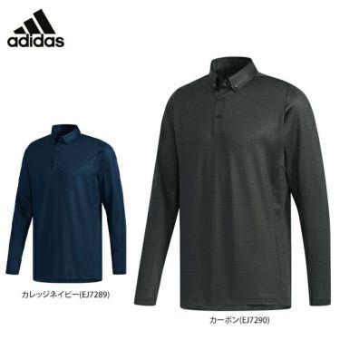 アディダス adidas メンズ 裏起毛 総柄プリント 長袖 ボタンダウン ポロシャツ GHS94 2019年モデル 詳細1