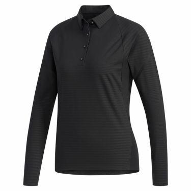 アディダス adidas レディース エンボスプリント 長袖 ラグランスリーブ ポロシャツ GHV14 2019年モデル ブラック(EJ7352)