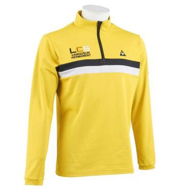 ルコック Le coq sportif メンズ ライン配色 ロゴ刺繍 長袖 ハーフジップシャツ QGMOJB07 2019年モデル イエロー(YL00)
