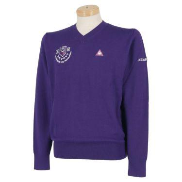 ルコック Le coq sportif メンズ ロゴ刺繍 長袖 Vネック セーター QGMOJL11 2019年モデル パープル(PP00)