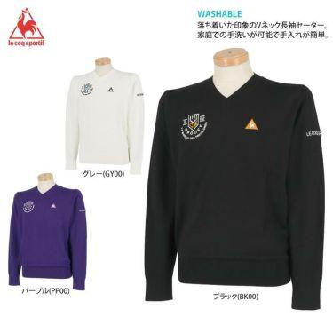ルコック Le coq sportif メンズ ロゴ刺繍 長袖 Vネック セーター QGMOJL11 2019年モデル 詳細2