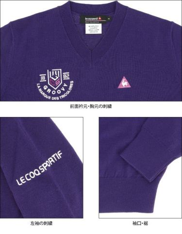 ルコック Le coq sportif メンズ ロゴ刺繍 長袖 Vネック セーター QGMOJL11 2019年モデル 詳細4