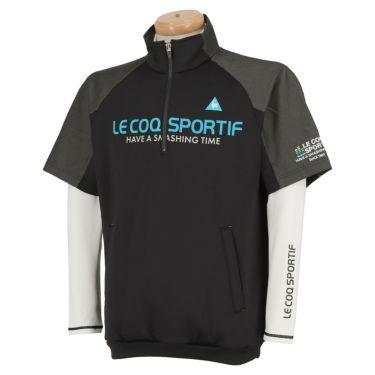 ルコック Le coq sportif メンズ 3WAY 半袖 ハーフジップシャツ & 長袖 ハイネック インナーシャツ QGMOJL53W 2019年モデル ブラック(BK00)