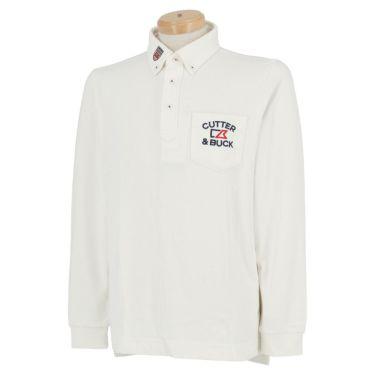 カッター&バック CUTTER&BUCK メンズ 千鳥格子柄 長袖 ボタンダウン ポロシャツ CGMOJB14 2019年モデル ホワイト(WH00)