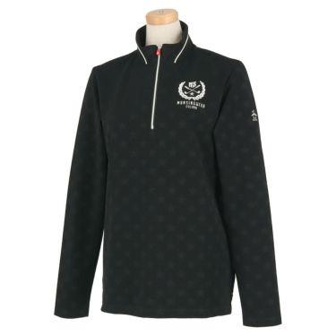マンシングウェア Munsingwear レディース 星柄 ジャカード 長袖 ハーフジップシャツ MGWOJB09 2019年モデル ブラック(BK00)
