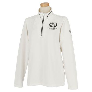 マンシングウェア Munsingwear レディース 星柄 ジャカード 長袖 ハーフジップシャツ MGWOJB09 2019年モデル ホワイト(WH00)