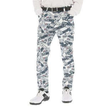 フィラ FILA メンズ 裏起毛 総柄 ボンディング ロングパンツ 789-306 2019年モデル [裾上げ対応1●] ホワイト(WT)