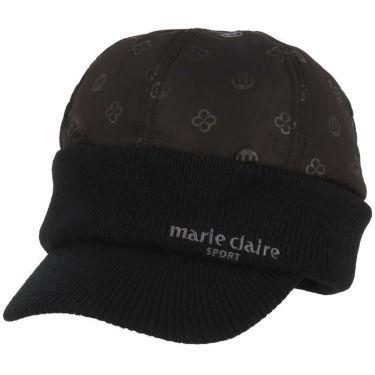 マリクレール marie claire レディース 飛び柄 キルト つば付き ニットキャップ 739-903 BK ブラック 2019年モデル ブラック(BK)