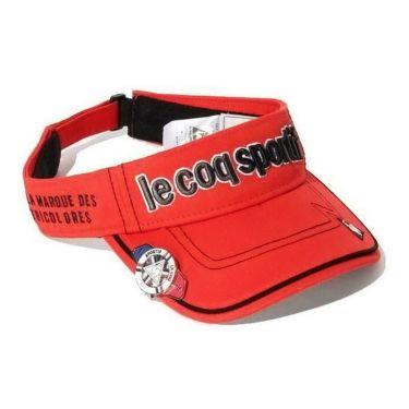 ルコック Le coq sportif メンズ クリップマーカー付き コットンツイル サンバイザー QG0265 R459 スカーレット 2019年モデル スカーレット(R459)