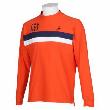 ルコック Le coq sportif メンズ ライン配色 長袖 モックネックシャツ QGMQJB02 2020年モデル オレンジ(OR00)