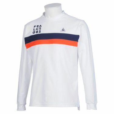 ルコック Le coq sportif メンズ ライン配色 長袖 モックネックシャツ QGMQJB02 2020年モデル ホワイト(WH00)