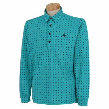 ルコック Le coq sportif メンズ タイポグラフィ柄 ロゴ刺繍 長袖 ポロシャツ QGMQJB07 2020年モデル ブルー(BL00)