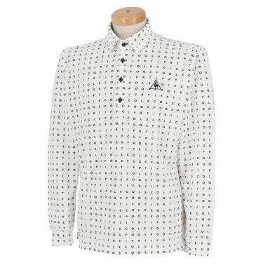 ルコック Le coq sportif メンズ タイポグラフィ柄 ロゴ刺繍 長袖 ポロシャツ QGMQJB07 2020年モデル ホワイト(WH00)