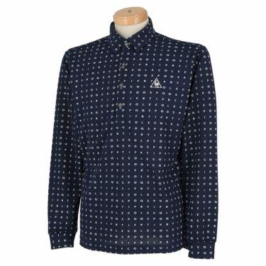 ルコック Le coq sportif メンズ タイポグラフィ柄 ロゴ刺繍 長袖 ポロシャツ QGMQJB07 2020年モデル ネイビー(NV00)