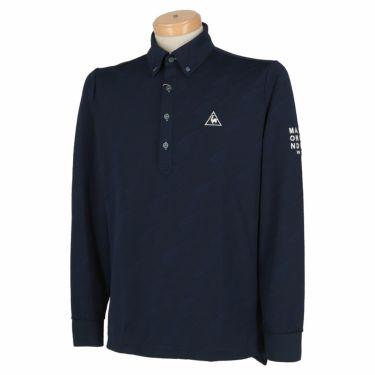 ルコック Le coq sportif メンズ ロゴジャガード 長袖 ボタンダウン ポロシャツ QGMQJB09 2020年モデル ネイビー(NV00)