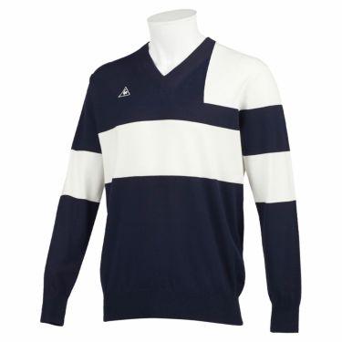ルコック Le coq sportif メンズ カラーブロック 長袖 Vネック セーター QGMQJL03 2020年モデル ネイビー(NV00)