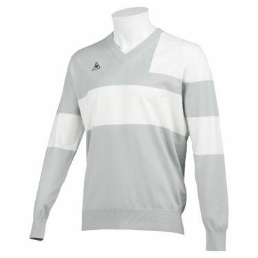 ルコック Le coq sportif メンズ カラーブロック 長袖 Vネック セーター QGMQJL03 2020年モデル グレー(GY00)