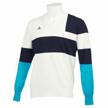 ルコック Le coq sportif メンズ カラーブロック 長袖 Vネック セーター QGMQJL03 2020年モデル ホワイト(WH00)