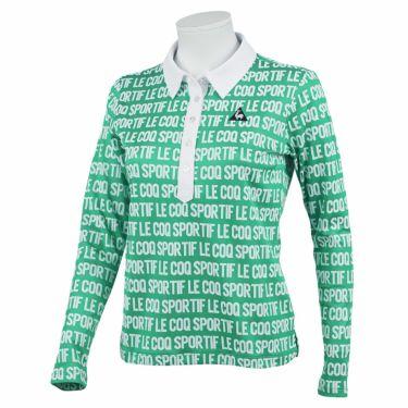 ルコック Le coq sportif レディース タイポグラフィ柄 長袖 ポロシャツ QGWQJB01 2020年モデル グリーン(GR00)