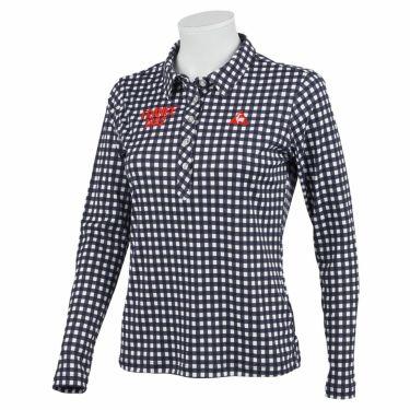 ルコック Le coq sportif レディース チェック柄 ロゴ刺繍 長袖 ポロシャツ QGWQJB02 2020年モデル ネイビー(NV00)