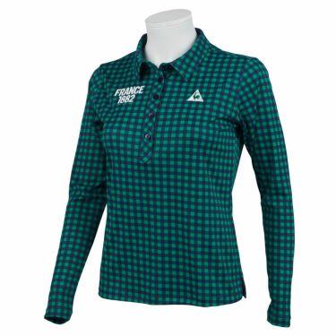ルコック Le coq sportif レディース チェック柄 ロゴ刺繍 長袖 ポロシャツ QGWQJB02 2020年モデル グリーン(GR00)