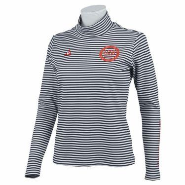 ルコック Le coq sportif レディース ボーダー柄 ロゴ刺繍 長袖 ハイネックシャツ QGWQJB03 2020年モデル ネイビー(NV00)