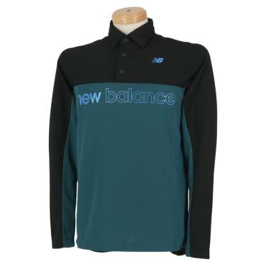 ニューバランスゴルフ メンズ バイカラー ロゴプリント 長袖 ポロシャツ 012-0269001 2020年モデル ブラック(010)