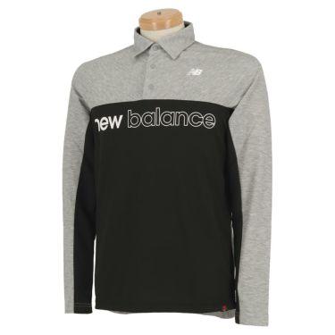 ニューバランスゴルフ メンズ バイカラー ロゴプリント 長袖 ポロシャツ 012-0269001 2020年モデル グレー(020)