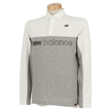 ニューバランスゴルフ メンズ バイカラー ロゴプリント 長袖 ポロシャツ 012-0269001 2020年モデル ホワイト(030)