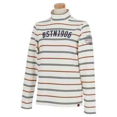 ニューバランスゴルフ レディース METRO マルチボーダー柄 長袖 モックネックシャツ 012-0267505 2020年モデル ホワイト(030)