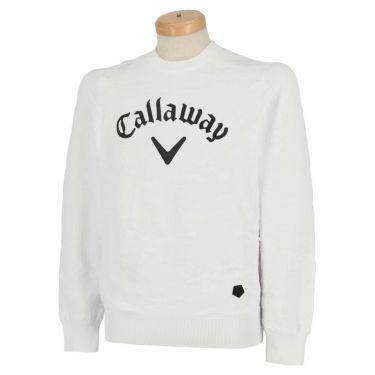 キャロウェイ Callaway メンズ 撥水 編地柄 長袖 クルーネック セーター 241-0218503 2020年モデル ホワイト(030)