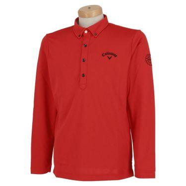 キャロウェイ Callaway メンズ ロゴ刺繍 長袖 ボタンダウン ポロシャツ 241-0233500 2020年モデル レッド(100)