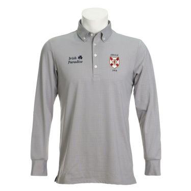 アドミラル Admiral メンズ エンブレムワッペン グレンチェック柄 長袖 ボタンダウン ポロシャツ ADMA079 2020年モデル グレー(19)