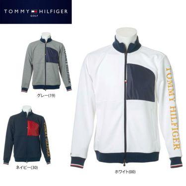 トミー ヒルフィガー ゴルフ メンズ ロゴ刺繍 生地切替 長袖 フルジップ ジャケット THMA059 2020年モデル 詳細1
