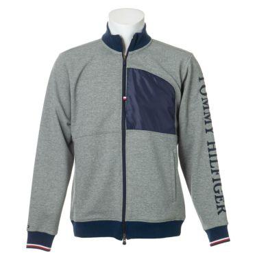 トミー ヒルフィガー ゴルフ メンズ ロゴ刺繍 生地切替 長袖 フルジップ ジャケット THMA059 2020年モデル グレー(19)