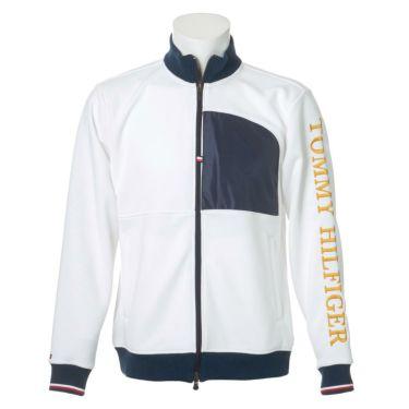 トミー ヒルフィガー ゴルフ メンズ ロゴ刺繍 生地切替 長袖 フルジップ ジャケット THMA059 2020年モデル ホワイト(00)