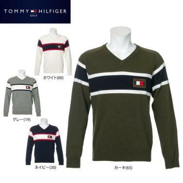 トミー ヒルフィガー ゴルフ メンズ ロゴワッペン トリコロール配色 長袖 Vネック セーター THMA064 2020年モデル