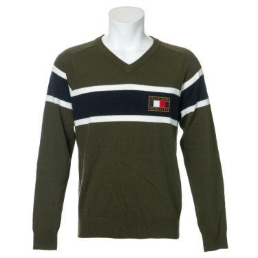 トミー ヒルフィガー ゴルフ メンズ ロゴワッペン トリコロール配色 長袖 Vネック セーター THMA064 2020年モデル カーキ(65)