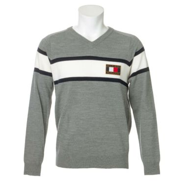 トミー ヒルフィガー ゴルフ メンズ ロゴワッペン トリコロール配色 長袖 Vネック セーター THMA064 2020年モデル グレー(19)