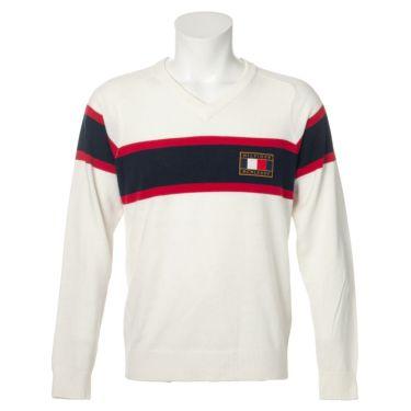 トミー ヒルフィガー ゴルフ メンズ ロゴワッペン トリコロール配色 長袖 Vネック セーター THMA064 2020年モデル ホワイト(00)