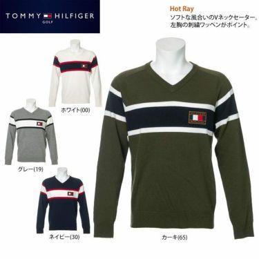 トミー ヒルフィガー ゴルフ メンズ ロゴワッペン トリコロール配色 長袖 Vネック セーター THMA064 2020年モデル 詳細2