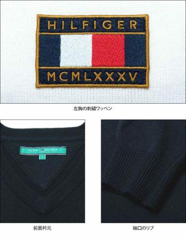 トミー ヒルフィガー ゴルフ メンズ ロゴワッペン トリコロール配色 長袖 Vネック セーター THMA064 2020年モデル 詳細4