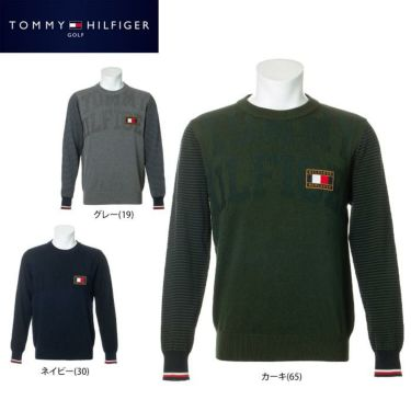 トミー ヒルフィガー ゴルフ メンズ ロゴワッペン ジャガード ボーダー柄切替 長袖 クルーネック セーター THMA074 2020年モデル 詳細1