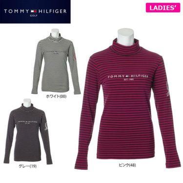トミー ヒルフィガー ゴルフ レディース ロゴプリント ボーダー柄 長袖 ハイネックシャツ THLA064 2020年モデル