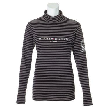 トミー ヒルフィガー ゴルフ レディース ロゴプリント ボーダー柄 長袖 ハイネックシャツ THLA064 2020年モデル グレー(19)